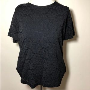 👠 Womens Impressions black lace overlay top Large